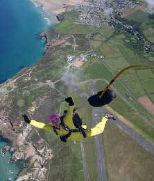 Sky-diving from Perranporth